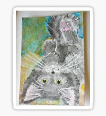 Playful cat watercolor  painting Sticker