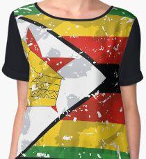 Zimbabwe Grunge Vintage Flag Women's Chiffon Top