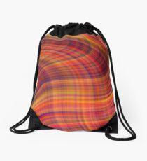 Fiery tartan swirl Drawstring Bag