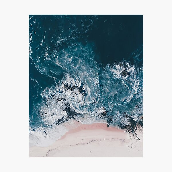 I Love the Sea - written on the sand Photographic Print
