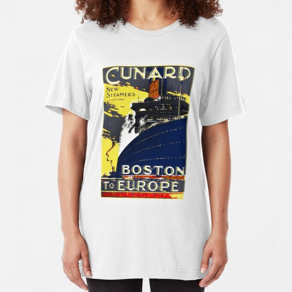 'Cunard New Steamers, Boston to Europe'. Slim Fit T-Shirt