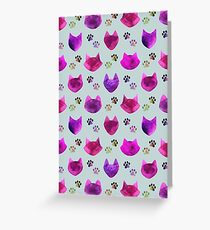 Watercolor Cat Heads - shades of pink & purple on pale blue  Greeting Card