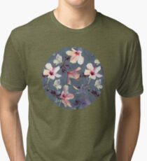 Butterflies and Hibiscus Flowers - a painted pattern Tri-blend T-Shirt