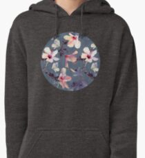 Butterflies and Hibiscus Flowers - a painted pattern Pullover Hoodie