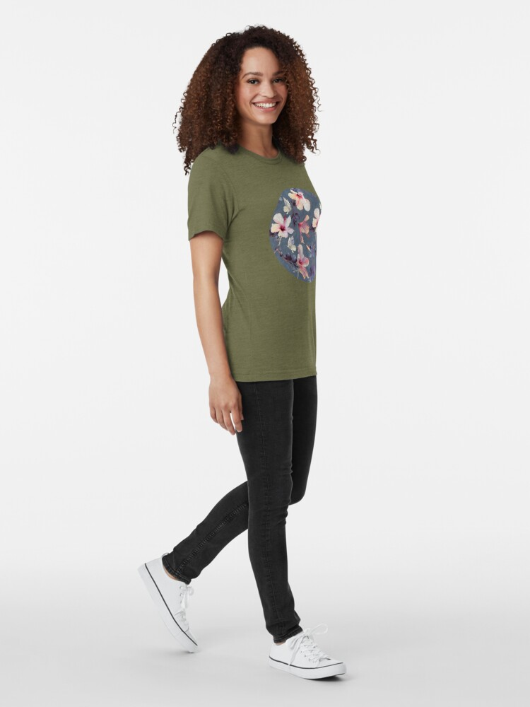 Alternate view of Butterflies and Hibiscus Flowers - a painted pattern Tri-blend T-Shirt