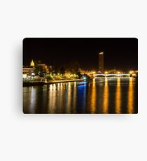 Seville Night Magic - Triana Bridge and the One and Only Skyscraper Canvas Print