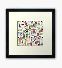 Coffee Lovers Pattern Framed Print