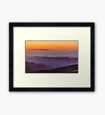 Landscape with the sunset sky Framed Print