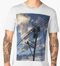 blue sky telephone wires Men's Premium T-Shirt