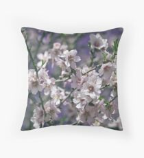 Pink Flowers Blooming Peach Tree at Spring Throw Pillow