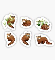 Red Panda & Bamboo Leaves Pattern Sticker