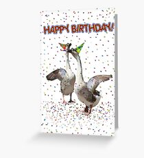 Confetti and Streamers Celebrating Geese  Greeting Card