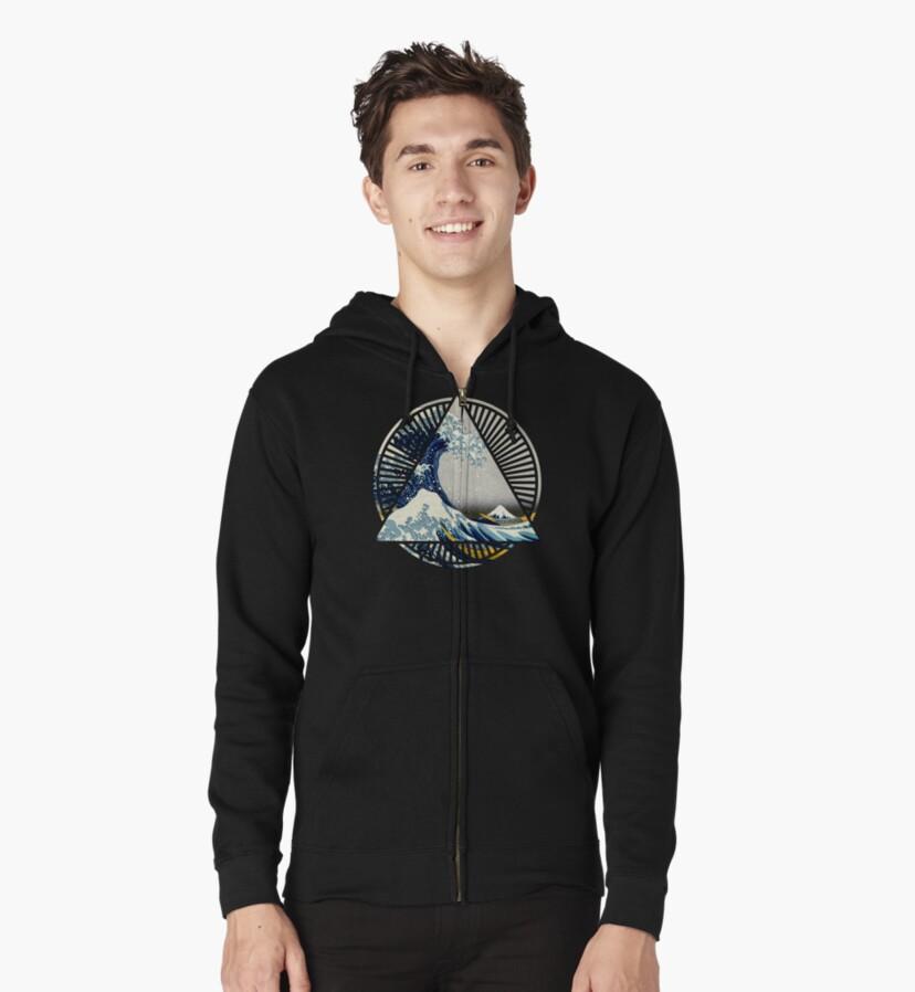 Vintage Hokusai Mount Fuji Great Tsunami Wave Japanese Geometric Manga Shirt Slim Fit TShirt Gift Trending Design T Shirt
