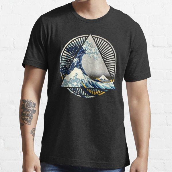 Vintage Hokusai Mount Fuji Great Tsunami Wave Japanese Geometric Manga Shirt Essential T-Shirt