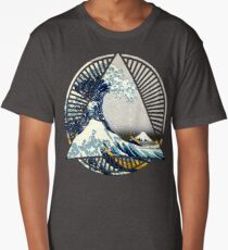 Hokusai - 36 Views Of Mount Fuji - Great Wave Off Kanagawa Geometric Triangle Shirt Long T-Shirt