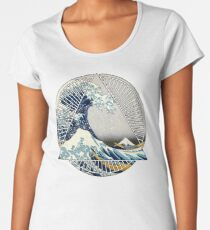 Hokusai - 36 Views Of Mount Fuji - Great Wave Off Kanagawa Geometric Triangle Shirt Women's Premium T-Shirt