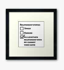 Video game relationship love hate Framed Print