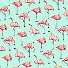 Flamingo Pattern - Blue by Kelly  Gilleran
