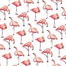 Flamingo Pattern - White by Kelly  Gilleran