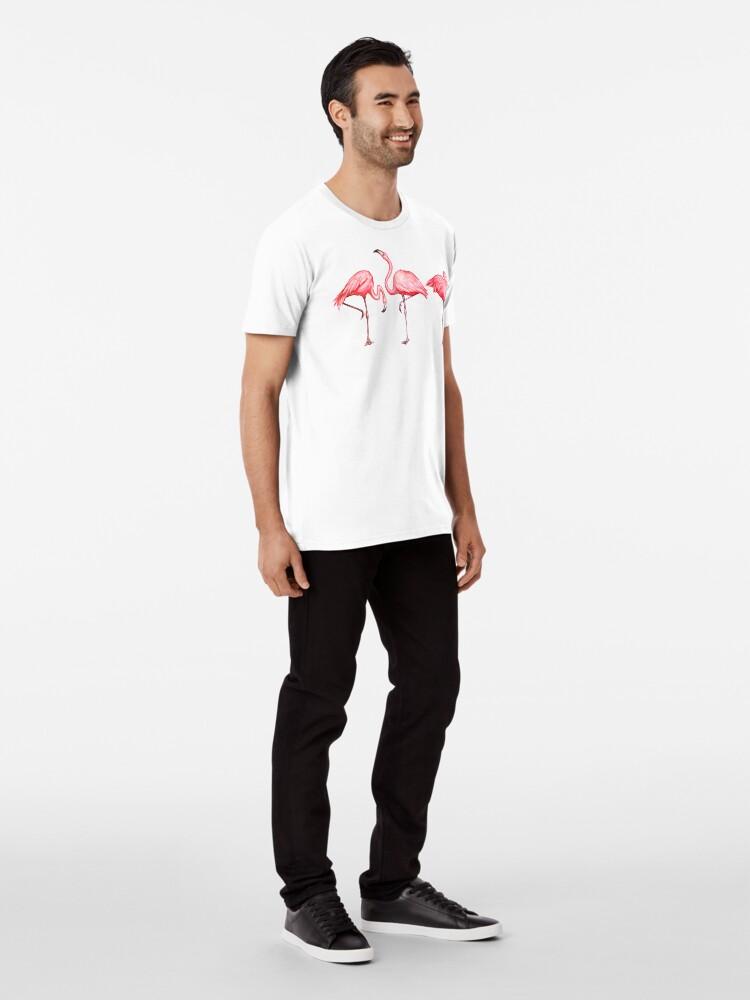 Alternate view of Flamingo Pattern - Black Premium T-Shirt
