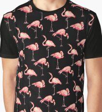 Flamingo Pattern - Black Graphic T-Shirt