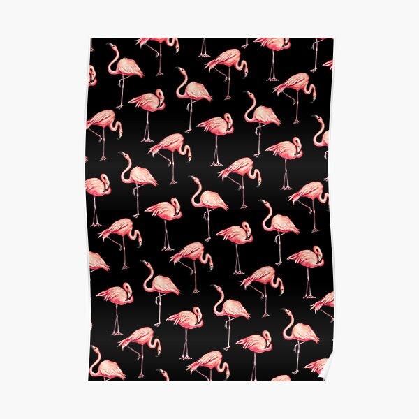 Flamingo Pattern - Black Poster
