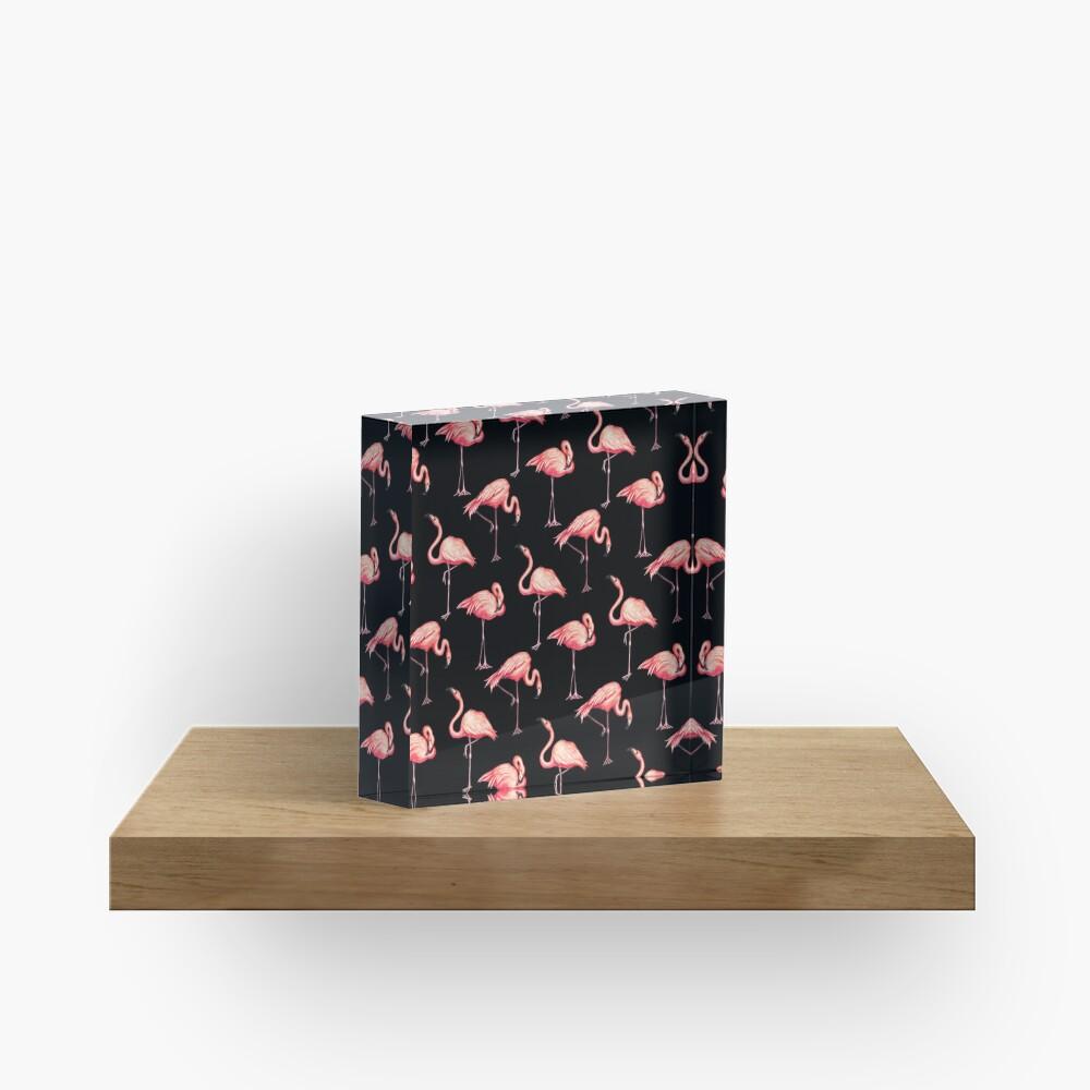 Flamingo Pattern - Black Acrylic Block