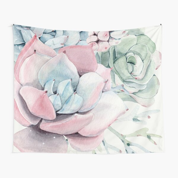 Elegant Succulents Pink and Blue and Green Desert Succulent Illustration Tapestry