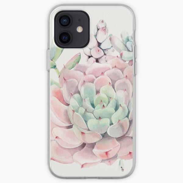 Pretty Succulents Pink and Green Desert Succulent Illustration iPhone Soft Case
