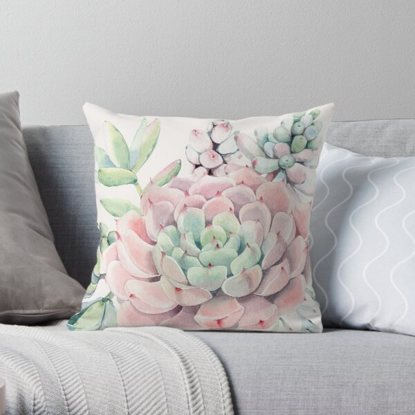 Pretty Succulents Pink and Green Desert Succulent Illustration Throw Pillow