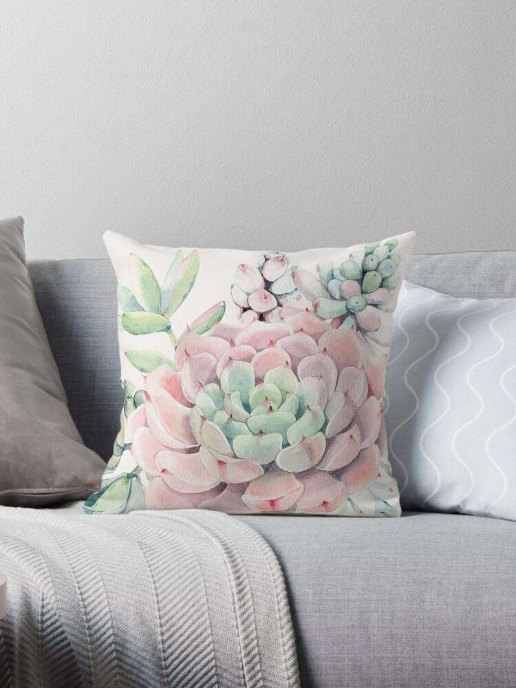 Pretty Succulents Pink and Green Desert Succulent Illustration by DesertDecor