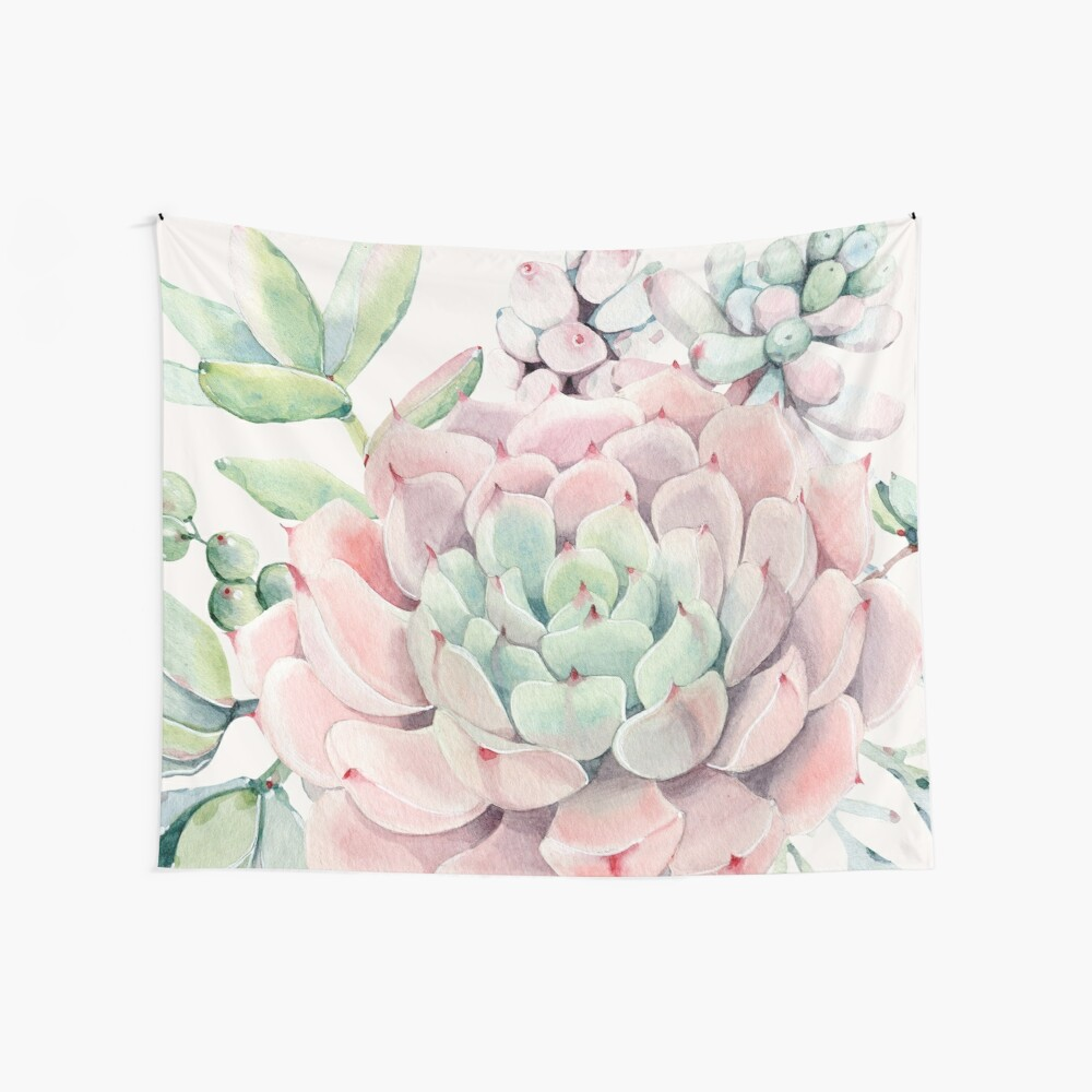 Pretty Succulents Pink and Green Desert Succulent Illustration Wall Tapestry