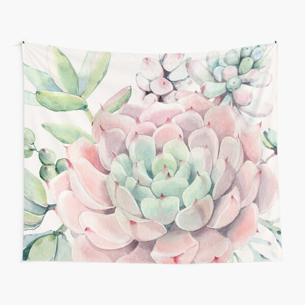 Pretty Succulents Pink and Green Desert Succulent Illustration Tapestry