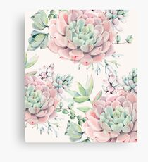 Trendy Succulents Pink and Green Desert Succulent Design Canvas Print