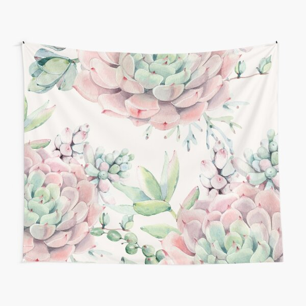 Trendy Succulents Pink and Green Desert Succulent Design Tapestry