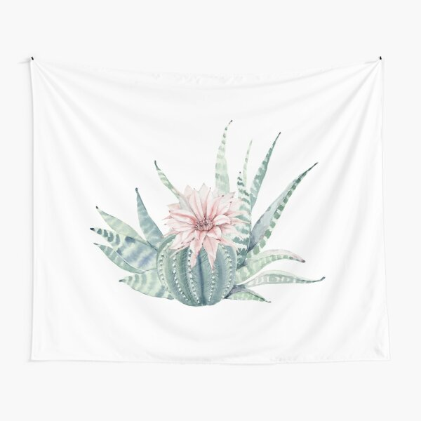 Pretty Succulents Pink and Mint Green and White Desert Succulent Illustration Tapestry