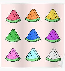 Colorful little Watermelon Design Poster