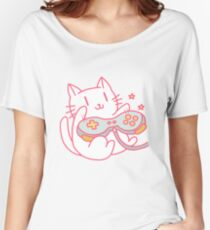 Vintage Hipster Video Game Cat T-shirt Women's Relaxed Fit T-Shirt