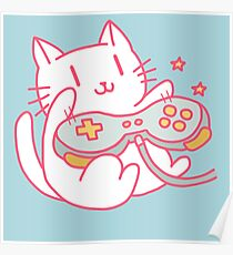 Vintage Hipster Nerdy Video Game Cat Sticker and t-shirt Poster
