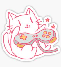 Vintage Hipster Video Game Cat T-shirt Sticker