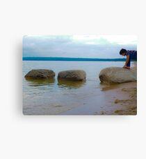 Rock Crawling Boy Canvas Print