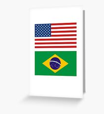 geek t Shirts Brazil Brasil flag Bandeira United States together Greeting Card