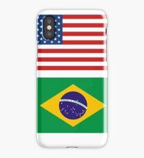 geek t Shirts Brazil Brasil flag Bandeira United States together iPhone Case