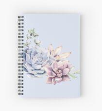 Elegant Succulents Mint Green and Blue Desert Succulent Southwest Art Spiral Notebook