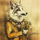 Marble Fox with Flowers by Jeanette  Treacy
