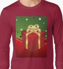 Red gift box with golden bow  Long Sleeve T-Shirt