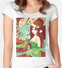 Santa girl in green corset Women's Fitted Scoop T-Shirt