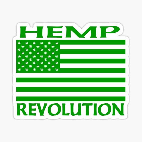 Hemp Revolution Flag with Hemp Stars Sticker