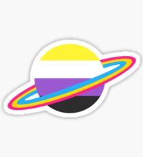 Nonbinary/Pansexual Pride Planet Sticker