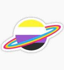 Nonbinary/Pansexual Pride Planet Sticker